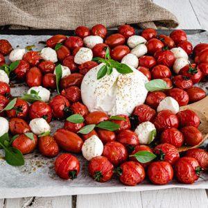 salade tomates roties mozzarella